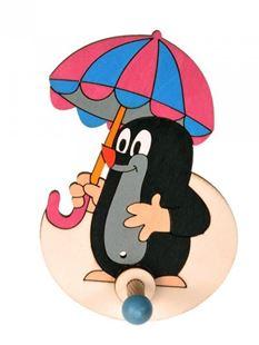 Obrázok Drevený 1 vešiačik - Krtko s dáždnikom