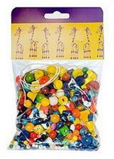 Obrázok Drevené korálky - Mix perlí farebných 70g