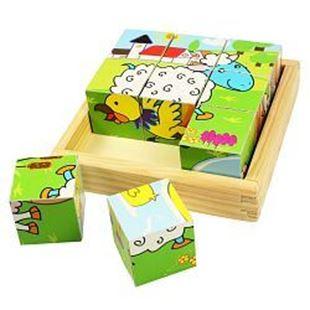 Obrázok Drevené obrázkové kocky kubusy - Zvieratká - 9 kociek