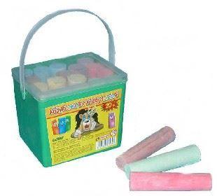 Obrázok Kriedy chodníkové farebné guľaté Set 20ks 6 farieb v plastovej dóze na chodník