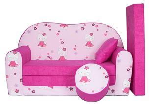 Obrázok Rozkladacia detská pohovka s Bobkom a vankúšikom Hello Kitty