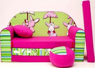 Obrázok Detská pohovka s Bobkom a vankúšikom Zeleno-ružová - Zajačikovia H18 +