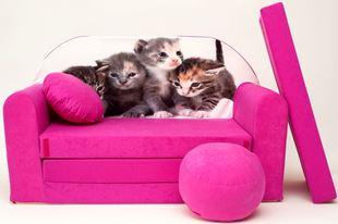 Obrázok Detská pohovka s Bobkom a vankúšikom Mačiatka - ružová H6 +