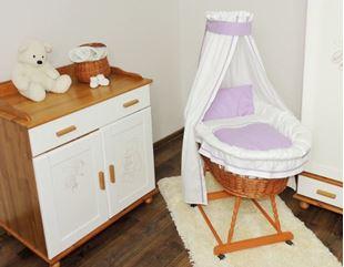 Obrázok Prútený kôš na bábätko s fialovou sadou obliečky