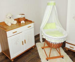 Obrázok Prútený kôš na bábätko so zelenou sadou obliečky