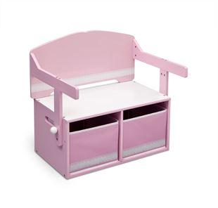 Obrázok Detská lavica s úložným priestorom ružová
