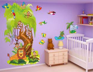 Obrázok Strom so zvieratkami samolepka na stenu