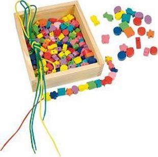 Obrázok Drevená krabička - navliekacie perly 200ks