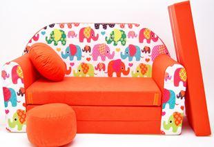 Obrázok Detská pohovka Slony - Oranžová F9
