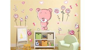Obrázok Medvedík a kvetinky samolepka na stenu