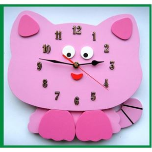 Obrázok Detské drevené hodiny Mačka - Mix farieb