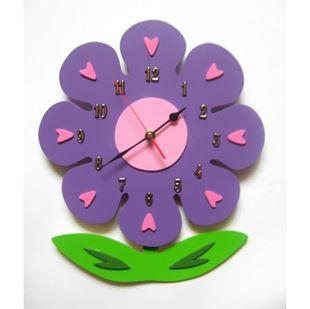 Obrázok Detské drevené hodiny Kvetina - Mix farieb