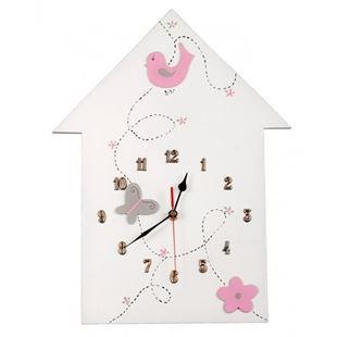 Obrázok Detské drevené hodiny Domček - Ružová