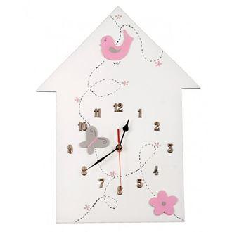 Obrázok z Detské drevené hodiny Domček - Ružová