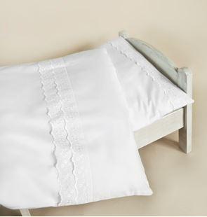 Obrázok Obliečky do postieľky 120x90- Biela s čipkou