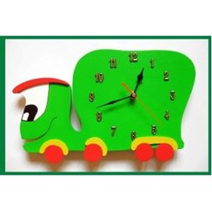 Obrázok Detské drevené hodiny Auto - Zelená