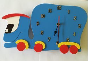 Obrázok Detské drevené hodiny Auto - Modrá