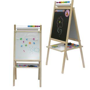 Obrázok Detská magnetická tabuľa 4v1 prírodná - výška 98 cm