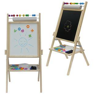 Obrázok Detská otočná magnetická tabuľa 4v1 prírodná - výška 89 cm