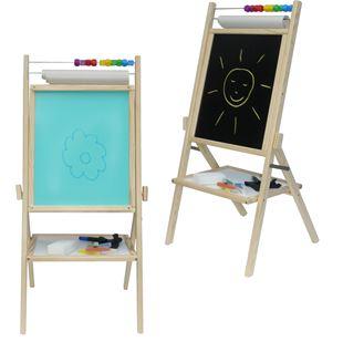 Obrázok Detská otočná modrá tabuľa 4v1 prírodná - výška 88 cm