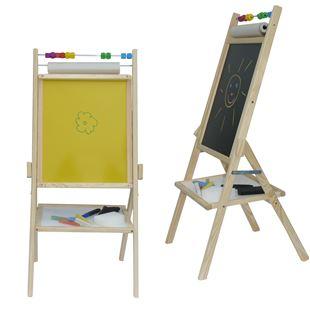 Obrázok Detská otočná žltá tabuľa 4v1 prírodná - výška 88 cm
