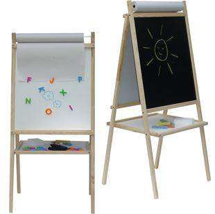 Obrázok Detská magnetická tabuľa 3v1 prírodná - výška 94 cm