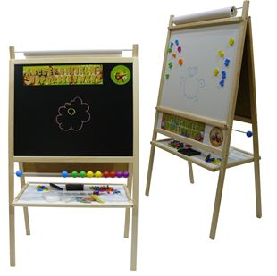 Obrázok Detská magnetická tabuľa 4v1 prírodná - výška 116 cm