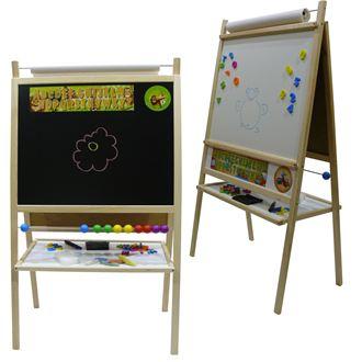 Obrázok z Detská magnetická tabuľa 4v1 prírodná - výška 116 cm