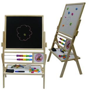 Obrázok Detská otočná magnetická tabuľa 3v1 prírodná - výška 89 cm