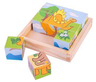 Obrázok Drevené obrázkové kocky kubusy - Dinosaury - 9 kociek