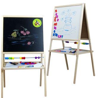 Obrázok z Detská magnetická tabuľa 2v1 prírodná - výška 88 cm