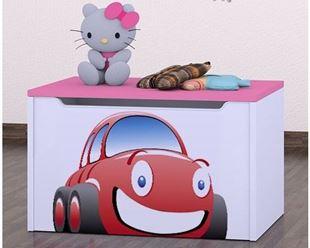 Obrázok Detská komoda na hračky - auto ružová