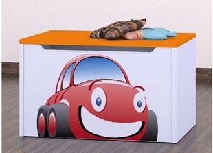 Obrázok Detská komoda na hračky - auto oranžová