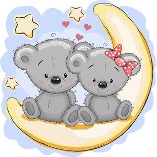 Obrázok Roztomilí medvedíky samolepka na stenu