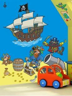 Obrázok Piráti a pirátska loď samolepka na stenu