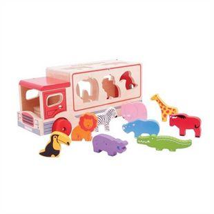 Obrázok Drevené auto so zvieratkami safari