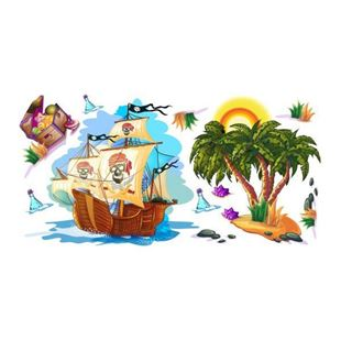 Obrázok Pirátska loď samolepka na stenu