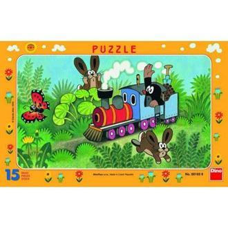Obrázok z Papierové puzzle 15 dielikov Krtko a lokomotíva