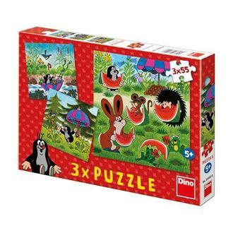 Obrázok z Puzzle 3x55 dielikov Krtko a paraplíčko