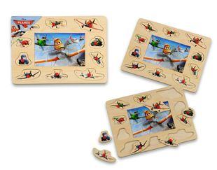 Obrázok Drevená vkladačka + puzzle - Lietadlá