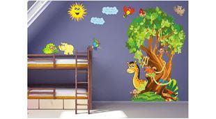 Obrázok Strom a zvieratá samolepka na stenu