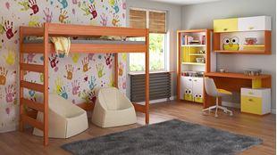 Obrázok Detská vyvýšená posteľ - Hugo rebrík z boku - 180x90cm