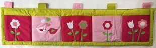 Obrázok Vreckár za posteľ veľký 200x50 cm - Kvetinky, vtáčiky a srdiečka
