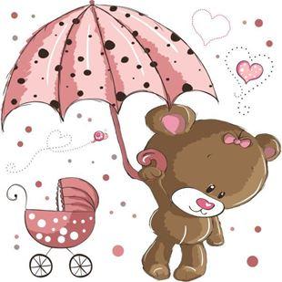 Obrázok Medvedík s dáždnikom samolepka na stenu