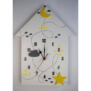 Obrázok Detské drevené hodiny Domček - Žltá