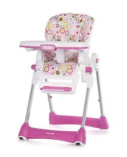 Obrázok Chipolino Detská jedálenská stolička Bravo - Ružová Kytičky