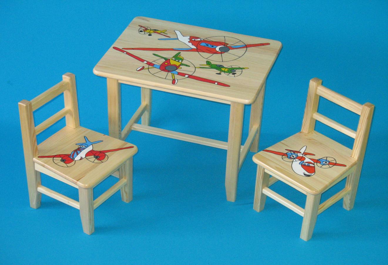 e56a2146e96c Detský drevený stôl so stoličkami - Lietadlá. Bambulin.sk - hračky ...