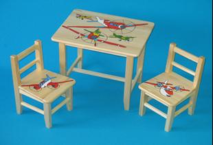 Obrázok Detský drevený stôl so stoličkami - Lietadlá