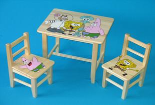 Obrázok Detský drevený stôl so stoličkami - Spongebob