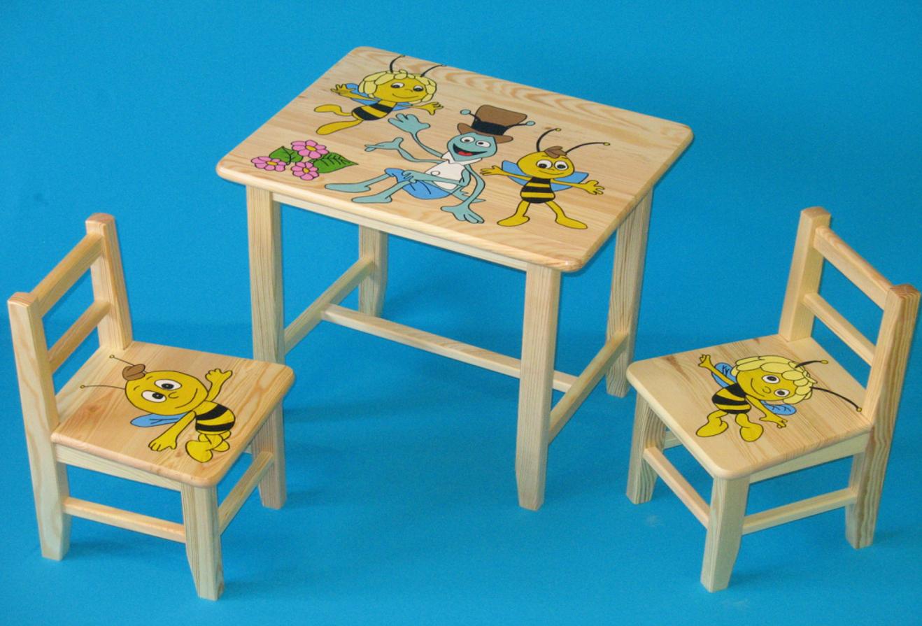 2489fde1a180 Detský drevený stôl so stoličkami - Včielka Mája. Bambulin.sk ...